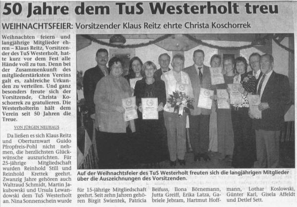 Pressebericht der Hertener Allgemeinen vom 18. Dezember 2003